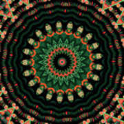 Colorful Kaleidoscope Incorporating Aspects Of Asian Architectur Art Print