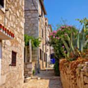 Colorful Mediterranean Stone Street Of Prvic Island Art Print