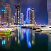 Colorful Night Dubai Marina Skyline, Dubai, United Arab Emirates Art Print