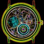 Coloured X-ray Of A 17-jewel Wrist-watch Art Print