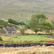Cottage At The Foothill Of The Colorful Connemara Mountains Ireland  Art Print
