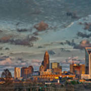 Cotton Candy Sky Over Charlotte North Carolina Downtown Skyline Art Print