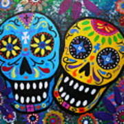 Couple Day Of The Dead Art Print by Pristine Cartera Turkus