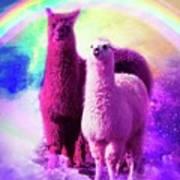 Crazy Funny Rainbow Llama In Space Art Print
