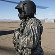 Crew Chief Of A Ch-47 Chinook Stands Art Print