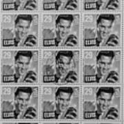 Elvis Commemorative Stamp January 8th 1993 Painted Bw Art Print