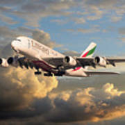 Emirates Airbus A380 Art Print