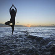 Female Doing Yoga At Sunset Art Print