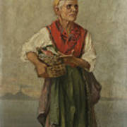 Fish Seller With The Vesuvio In The Background Art Print