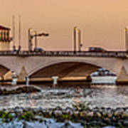 Flagler Bridge In Lights Panorama Art Print