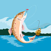 Fly Fisherman Catching Trout Art Print by Aloysius Patrimonio