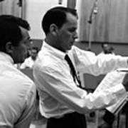 Frank Sinatra And Dean Martin At Capitol Records Studios 1958. Art Print