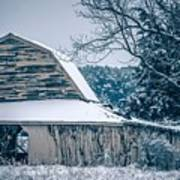 Fresh Snow Sits On The Ground Around An Old Barn Art Print