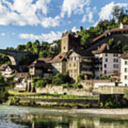 Fribourg Old Town In Switzerland Art Print