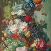 Fruit And Flowers In A Terracotta Vase Art Print