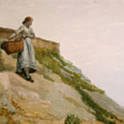Girl Carrying A Basket  Art Print