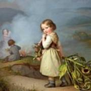 Girl On Her Way To Cooking Potatoes In The Fire Art Print
