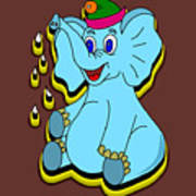 Happy Blue Elephant Art Print