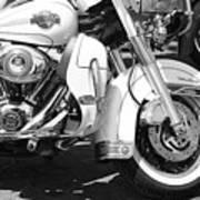 White Harley Davidson Bw Art Print