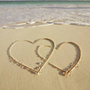 2 Hearts Drawn On The Beach Art Print