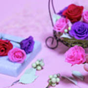 How To Make Preservrd Flower And Clay Flower Arrangement, Colorf Art Print