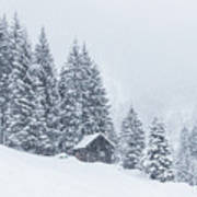 Huts And Winter Landscapes Art Print