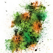 Ireland Map Paint Splashes Art Print