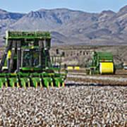 John Deere Cotton Pickers Harvesting Art Print