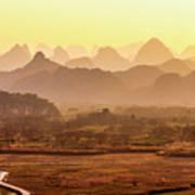 Karst Mountains Scenery In Sunset Art Print