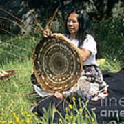 Kashia Pomo Woman Weaving Art Print