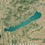 Lake Balaton 3d Render Satellite View Topographic Map Art Print