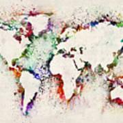 Map Of The World Paint Splashes Art Print