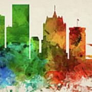 Milwaukee Skyline Panorama Uswiml-pa03 Art Print