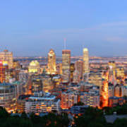 Montreal At Dusk Panorama Art Print