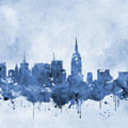 New York Skyline-blue Art Print