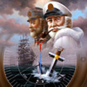 News Two Map Captain Or Two Sea Captain Art Print
