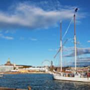 Old Sailing Boats In Helsinki City Harbor Port Finland Art Print