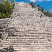 People Climbing Nohoch Mul At The Coba Ruins  Art Print