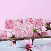 Pink Heart Shape Small Lamington Cakes Art Print