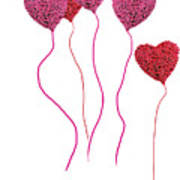 Pink Roses In Heart Shape Balloons  Art Print by Michael Ledray