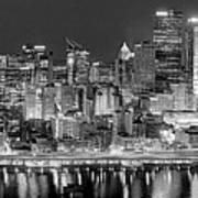 Pittsburgh Pennsylvania Skyline At Night Panorama Art Print