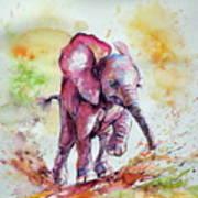 Playing Elephant Baby Art Print