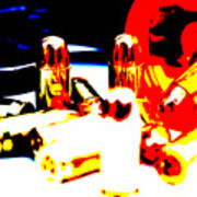 Pop Art Of .45 Cal Bullets Comming Out Of Pill Bottle Art Print