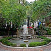 Public Fountain And Gardens In Palma Majorca Spain Art Print