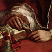 Raphael Pope Leo X With Cardinals Giulio De  Medici And Luigi De  Rossi  Art Print