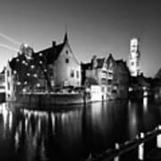River Dijver And The Belfort At Night, Rozenhoedkaai, Bruges Art Print