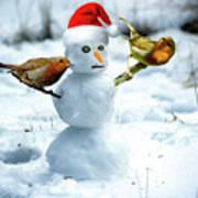 2 Robins On A Snow Man Art Print