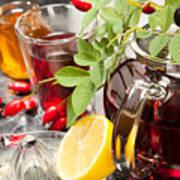 Rosehip Tea With Honey And Lemon In Glass Art Print