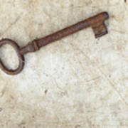 Rusty Key On Old Parchment Art Print