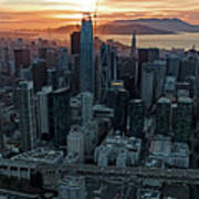 San Francisco City Skyline At Sunset Aerial Art Print